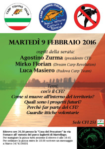 Serata conoscere Carpfishing Italia Sede CFI 251 Martellago