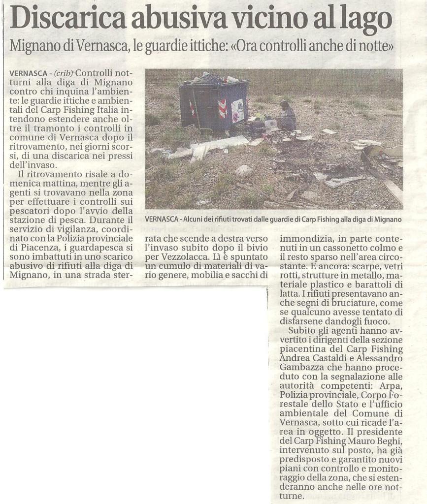 ARTICOLO LIBERTA' DISCARICA INVASO MIGNANO